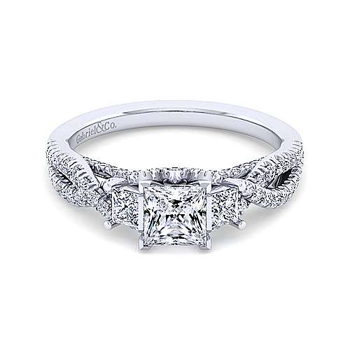 Gabriel - Ambrosia 18k White Gold Princess Cut 3 Stones Engagement Ring