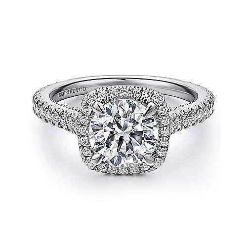Gabriel - Amelia 18k White Gold Round Halo Engagement Ring