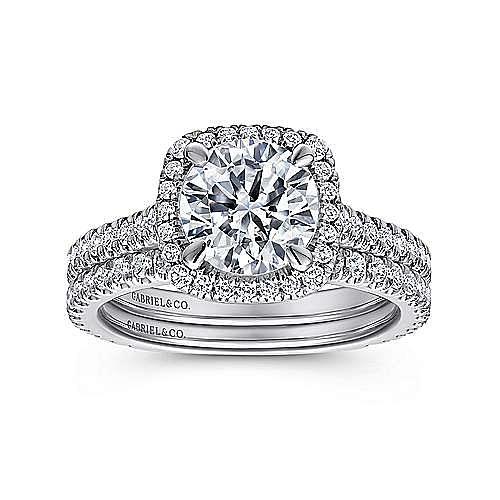 Amelia 18k White Gold Round Halo Engagement Ring angle 4