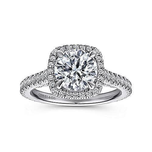 Amelia 18k White Gold Round Halo Engagement Ring angle 5