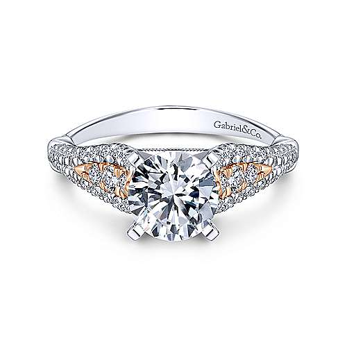 Gabriel - Amina 14k White And Rose Gold Round Straight Engagement Ring