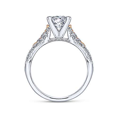 Amina 14k White And Rose Gold Round Straight Engagement Ring angle 2