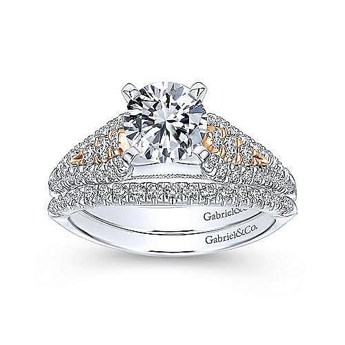 Amina 14k White And Rose Gold Round Straight Engagement Ring angle 4
