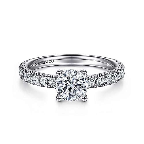 Gabriel - Amira 14k White Gold Round Straight Engagement Ring