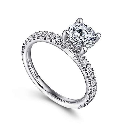 Amira 14k White Gold Round Straight Engagement Ring angle 3