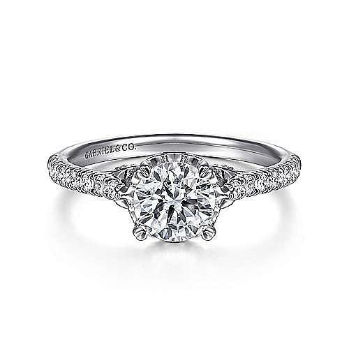 Gabriel - Amor 18k White Gold Round Straight Engagement Ring