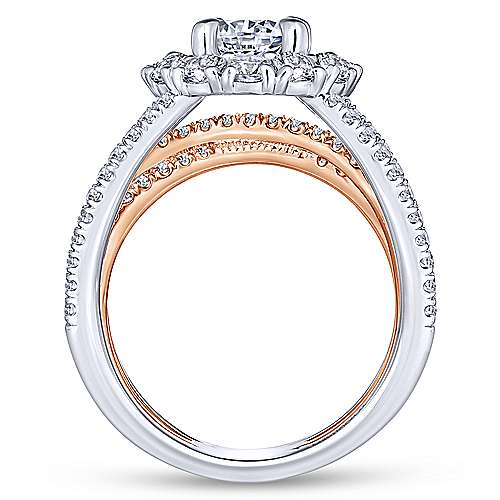 Amory 18k White And Rose Gold Round Double Halo Engagement Ring angle 2