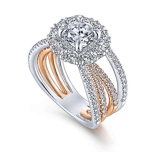 Amory 18k White And Rose Gold Round Double Halo Engagement Ring angle 3