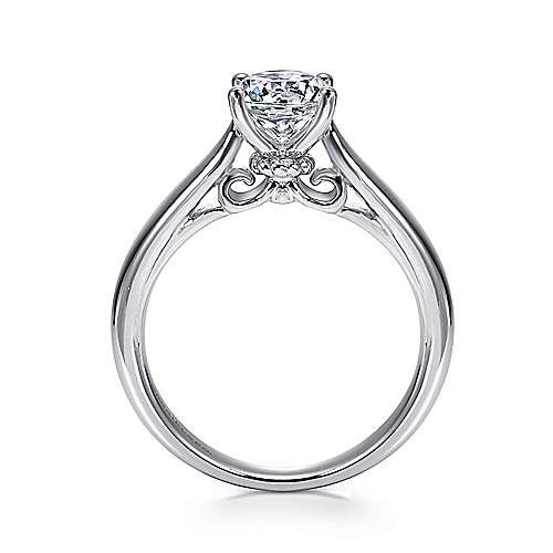 Amy 18k White Gold Round Solitaire Engagement Ring angle 2
