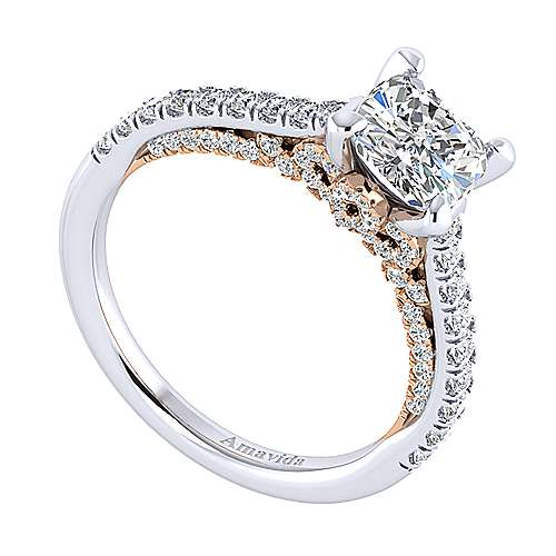 Anais 18k White And Rose Gold Cushion Cut Straight Engagement Ring angle 3