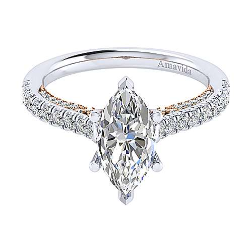 Gabriel - Anais 18k White And Rose Gold Marquise  Straight Engagement Ring