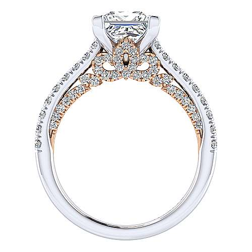 Anais 18k White And Rose Gold Princess Cut Straight Engagement Ring angle 2