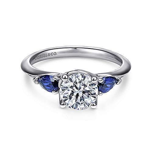 Gabriel - Anastasia 18k White Gold Round 3 Stones Engagement Ring