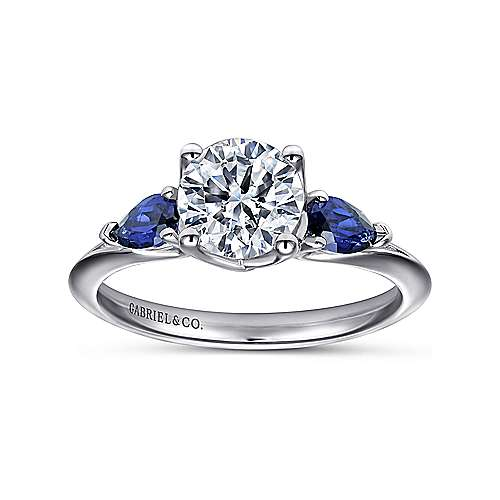 Anastasia 18k White Gold Round 3 Stones Engagement Ring angle 5