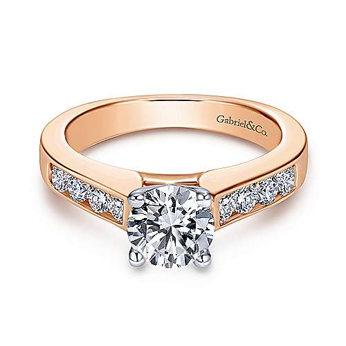 Gabriel - Anderson 14k White And Rose Gold Round Straight Engagement Ring