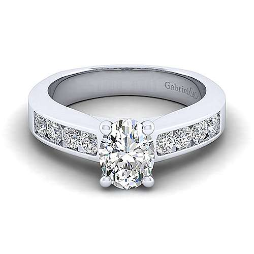 Gabriel - Anderson 14k White Gold Oval Straight Engagement Ring