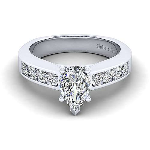 Gabriel - Anderson 14k White Gold Pear Shape Straight Engagement Ring