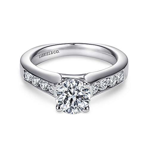 Anderson 14k White Gold Round Straight Engagement Ring angle 1