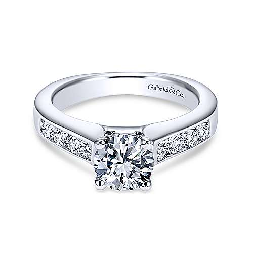 Gabriel - Anderson 18k White Gold Round Straight Engagement Ring