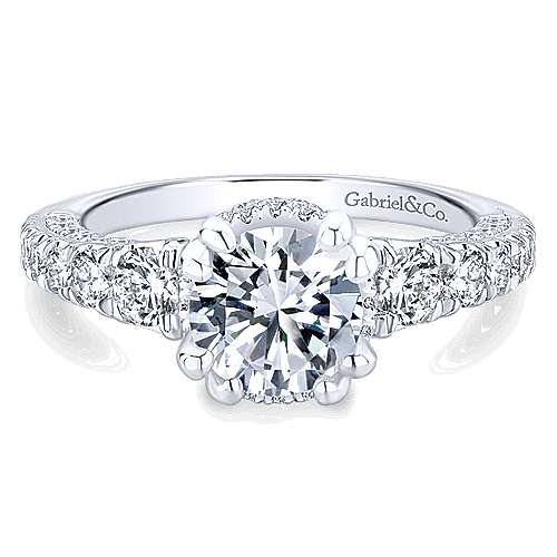 Gabriel - Andorra 14k White Gold Round Straight Engagement Ring
