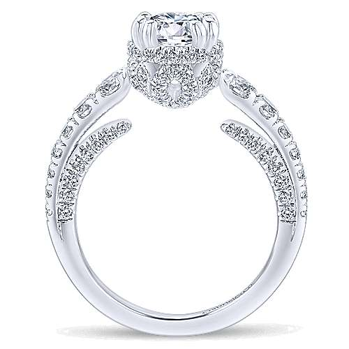 Andorra 14k White Gold Round Straight Engagement Ring angle 2