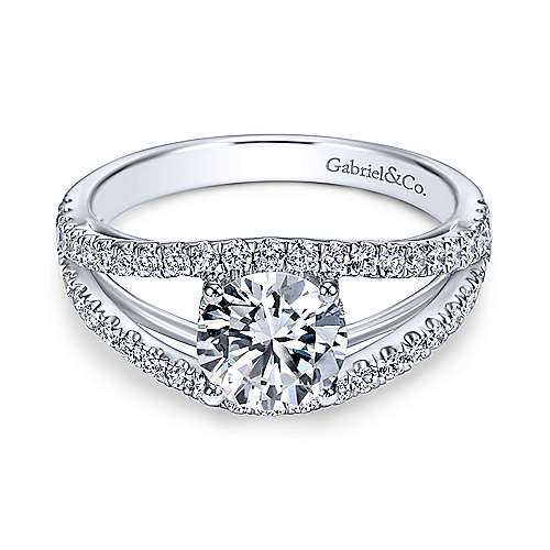 Gabriel - Andrina 14k White Gold Round Split Shank Engagement Ring