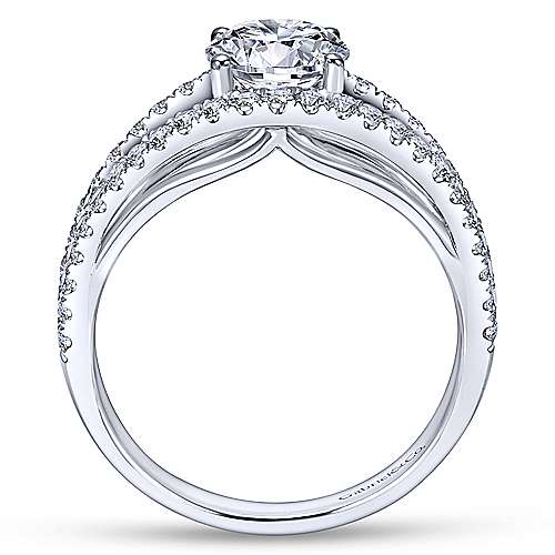 Andrina 14k White Gold Round Split Shank Engagement Ring angle 2