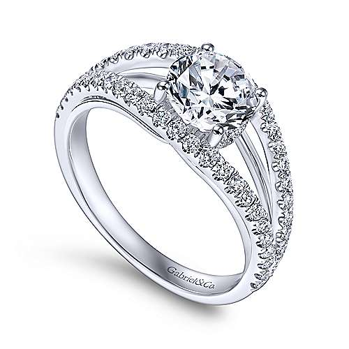 Andrina 14k White Gold Round Split Shank Engagement Ring angle 3