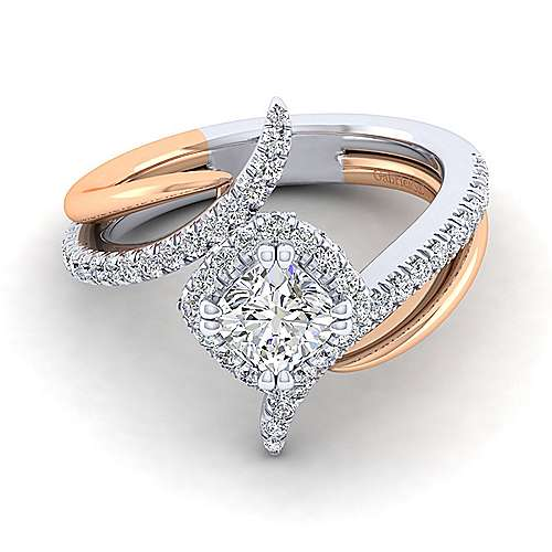 Gabriel - Andromeda 14k White And Rose Gold Cushion Cut Halo Engagement Ring
