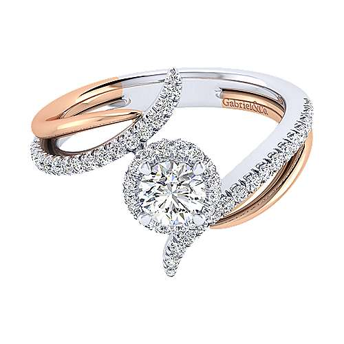 Gabriel - Andromeda 14k White And Rose Gold Round Halo Engagement Ring