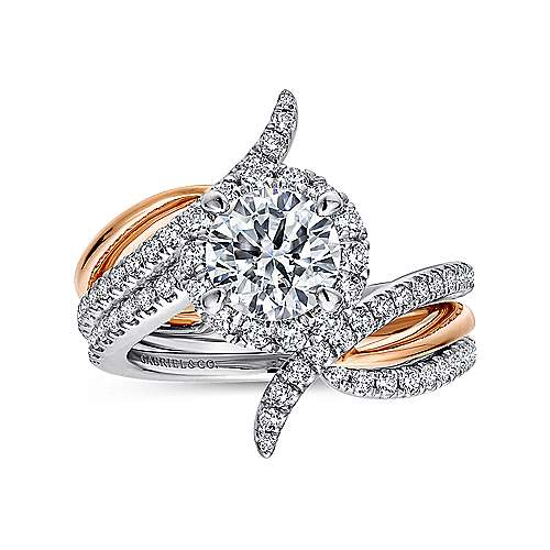 Andromeda 14k White And Rose Gold Round Halo Engagement Ring angle 4