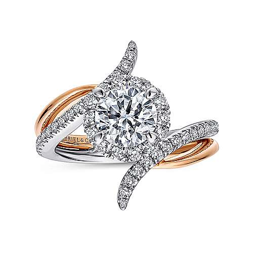 Andromeda 14k White And Rose Gold Round Halo Engagement Ring angle 5