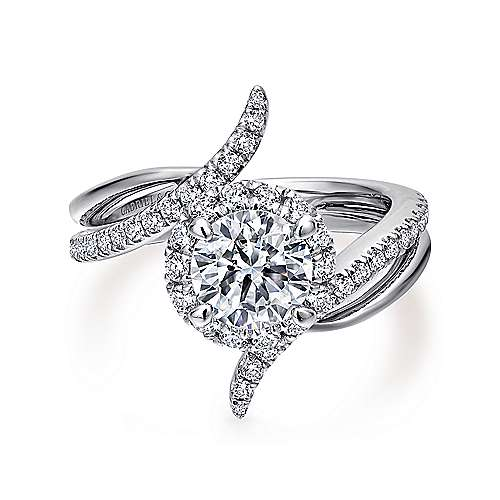 Gabriel - Andromeda 14k White Gold Round Halo Engagement Ring