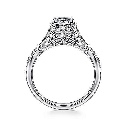 Angel 14k White Gold Princess Cut Halo Engagement Ring angle 2