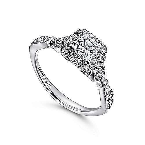 Angel 14k White Gold Princess Cut Halo Engagement Ring angle 3