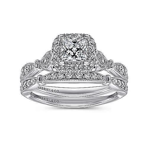 Angel 14k White Gold Princess Cut Halo Engagement Ring angle 4