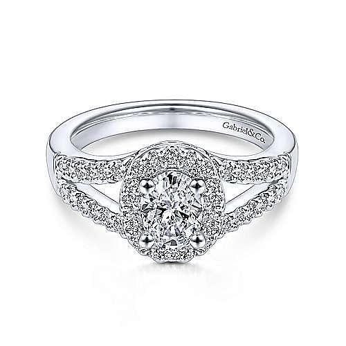 Angelene 14k White Gold Oval Halo Engagement Ring angle 1