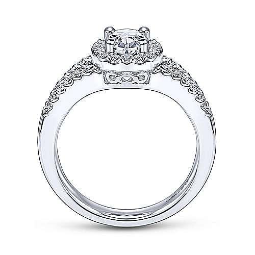 Angelene 14k White Gold Oval Halo Engagement Ring angle 2