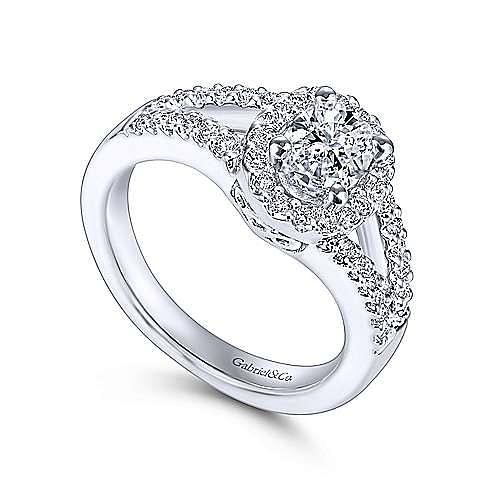Angelene 14k White Gold Oval Halo Engagement Ring angle 3