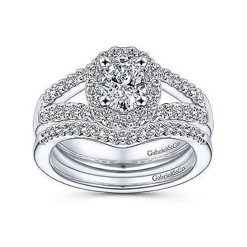 Angelene 14k White Gold Oval Halo Engagement Ring angle 4