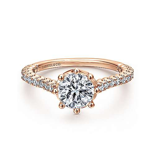 Gabriel - Angelina 14k Rose Gold Round Straight Engagement Ring