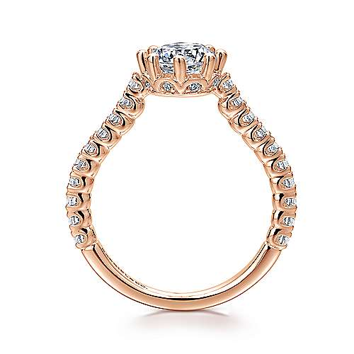 Angelina 14k Rose Gold Round Straight Engagement Ring angle 2