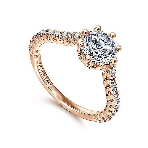 Angelina 14k Rose Gold Round Straight Engagement Ring angle 3
