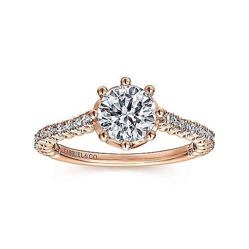 Angelina 14k Rose Gold Round Straight Engagement Ring angle 5