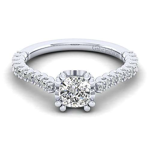 Gabriel - Angelina 14k White Gold Cushion Cut Straight Engagement Ring