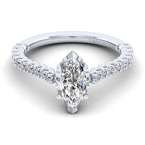 Gabriel - Angelina 14k White Gold Marquise  Straight Engagement Ring