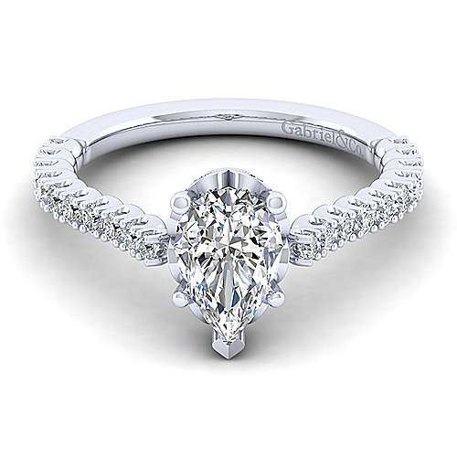 Gabriel - Angelina 14k White Gold Pear Shape Straight Engagement Ring