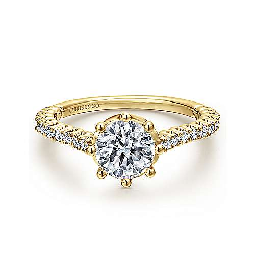 Gabriel - Angelina 14k Yellow Gold Round Straight Engagement Ring