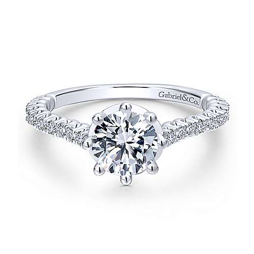 Gabriel - Angelina 18k White Gold Round Straight Engagement Ring
