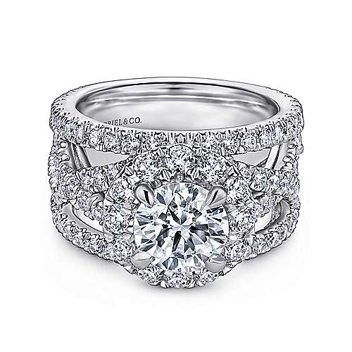 Angelou 18k White Gold Round Halo Engagement Ring angle 1